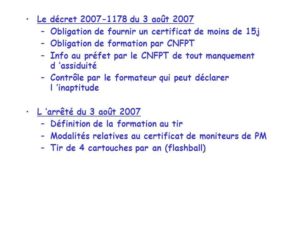 Le décret 2007-1178 du 3 août 2007 Obligation de fournir un certificat de moins de 15j. Obligation de formation par CNFPT.