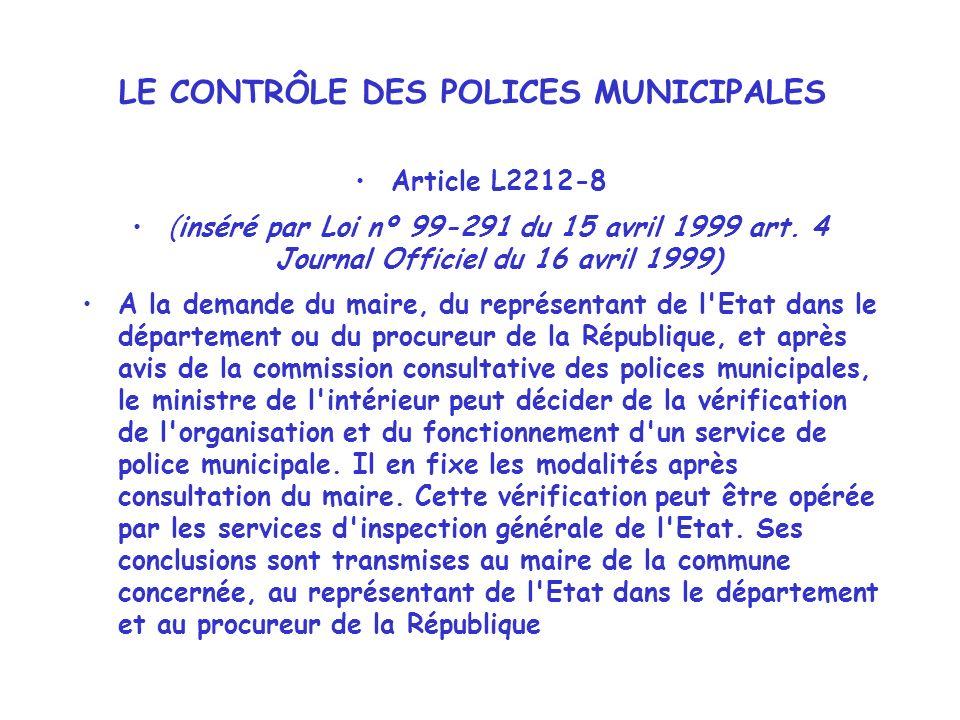 LE CONTRÔLE DES POLICES MUNICIPALES