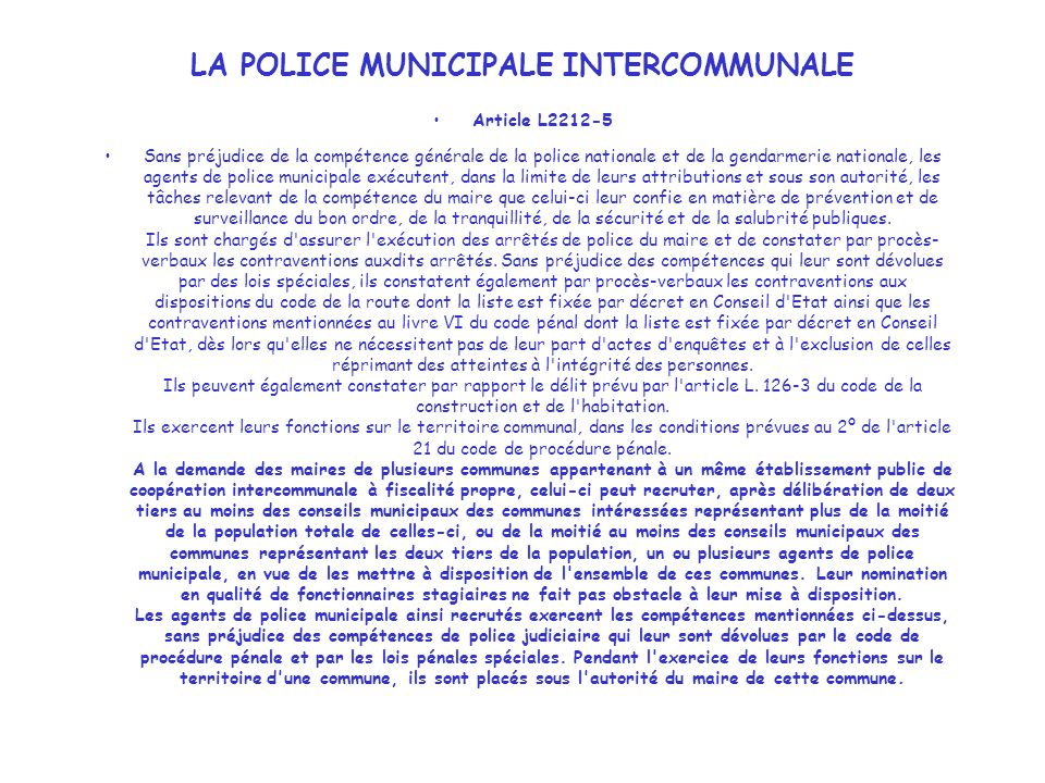 LA POLICE MUNICIPALE INTERCOMMUNALE