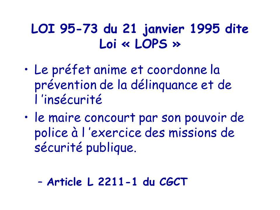 LOI 95-73 du 21 janvier 1995 dite Loi « LOPS »