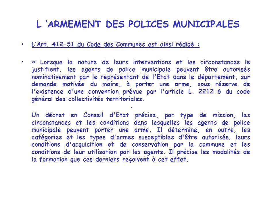 L 'ARMEMENT DES POLICES MUNICIPALES