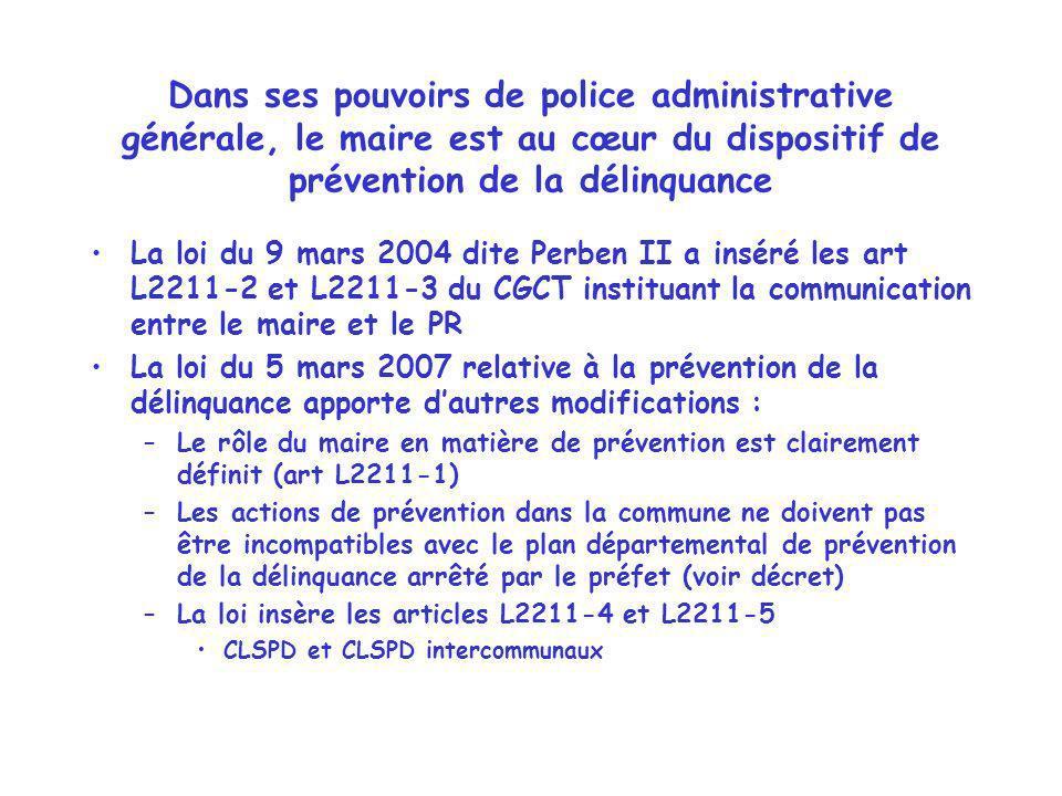Dans ses pouvoirs de police administrative générale, le maire est au cœur du dispositif de prévention de la délinquance