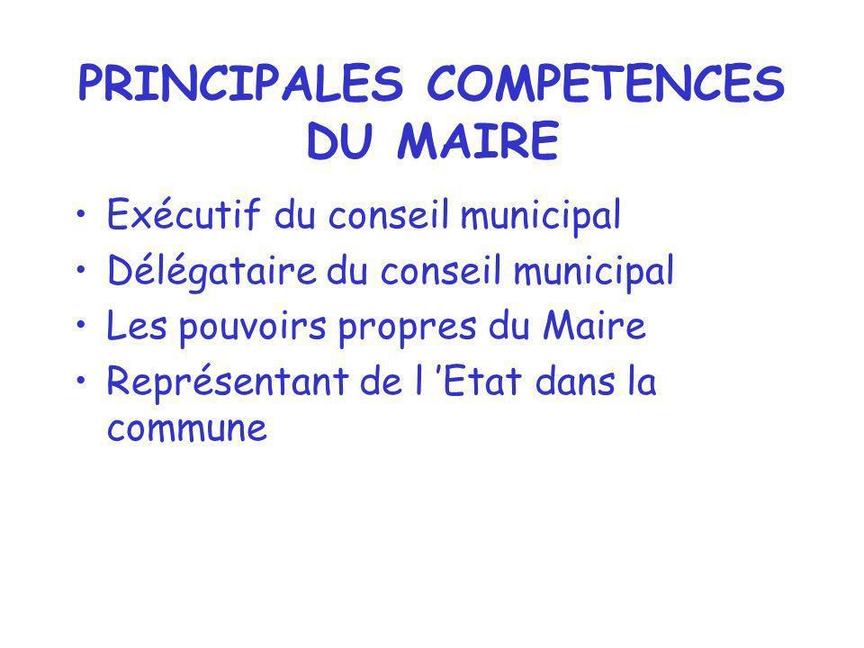 PRINCIPALES COMPETENCES DU MAIRE