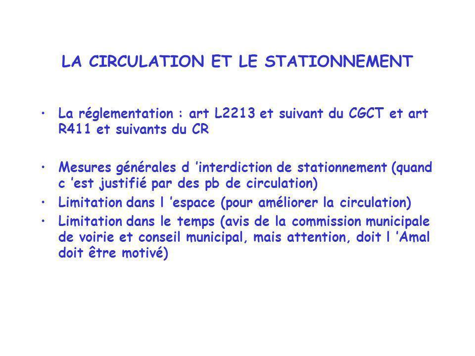 LA CIRCULATION ET LE STATIONNEMENT