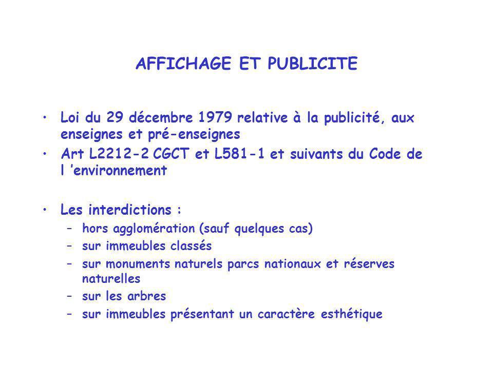 AFFICHAGE ET PUBLICITE