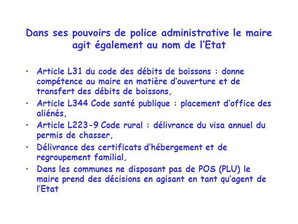 Dans ses pouvoirs de police administrative le maire agit également au nom de l'Etat