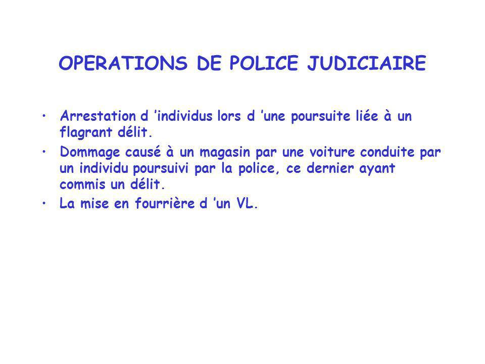 OPERATIONS DE POLICE JUDICIAIRE