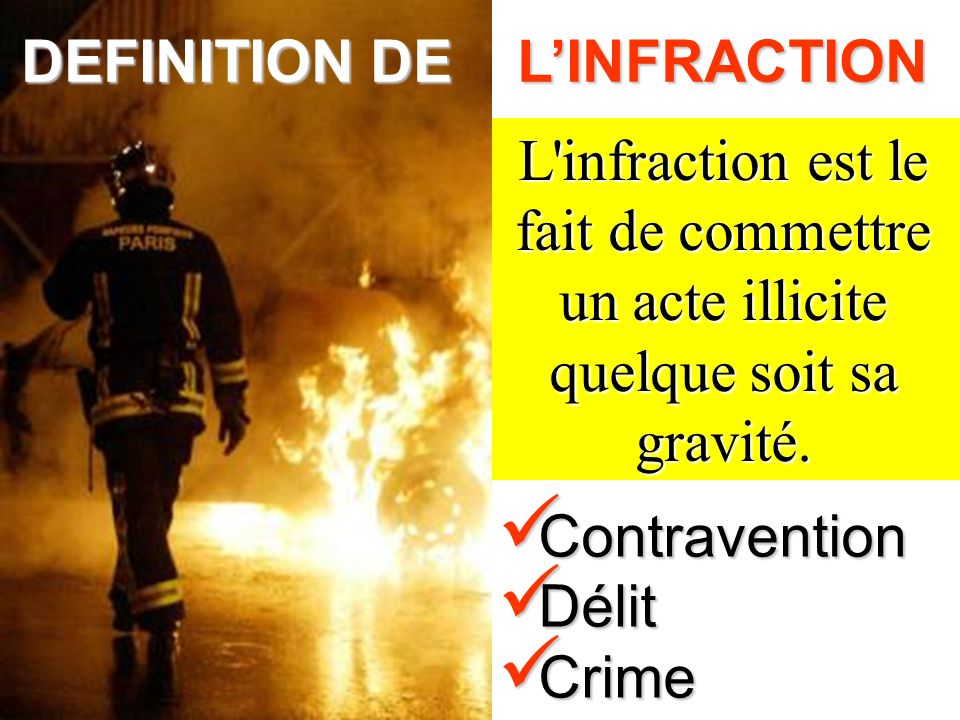 DEFINITION DE L'INFRACTION