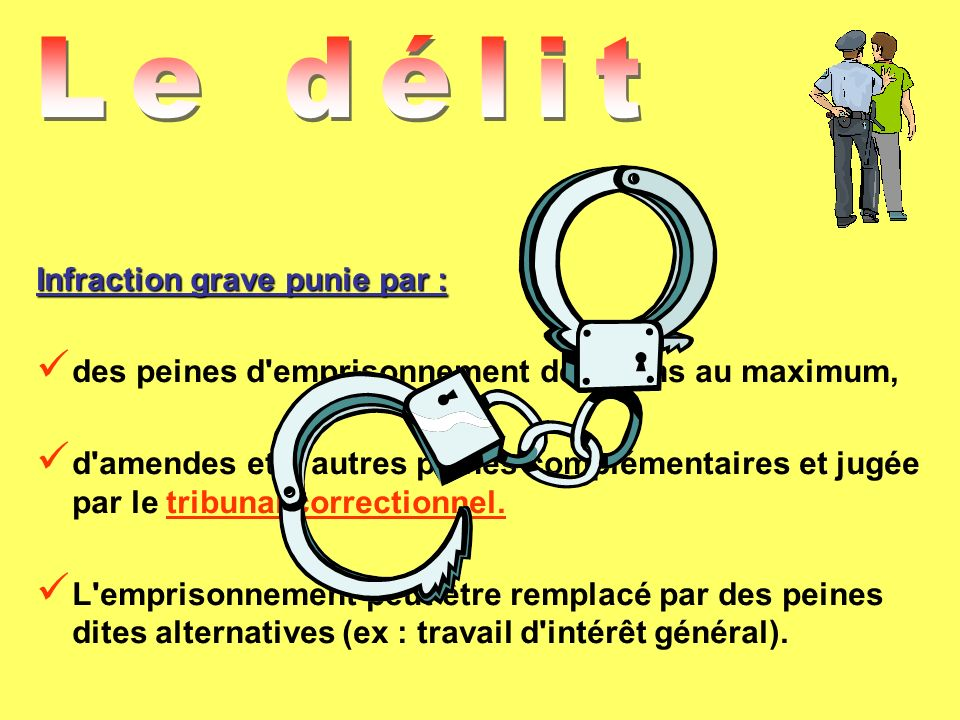 Le délit Infraction grave punie par :