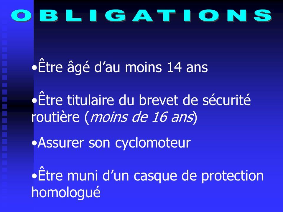 OBLIGATIONS Être âgé d'au moins 14 ans. Être titulaire du brevet de sécurité routière (moins de 16 ans)