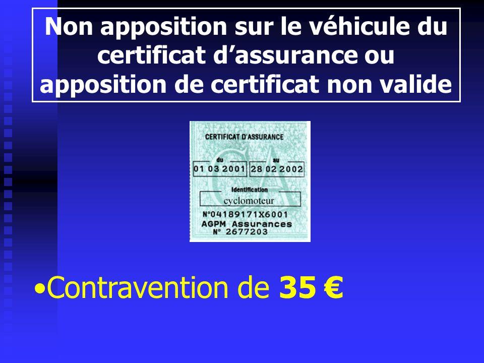 Non apposition sur le véhicule du certificat d'assurance ou apposition de certificat non valide