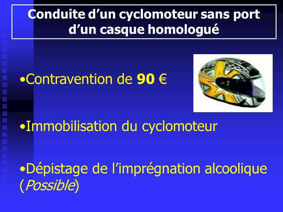 Conduite d'un cyclomoteur sans port d'un casque homologué