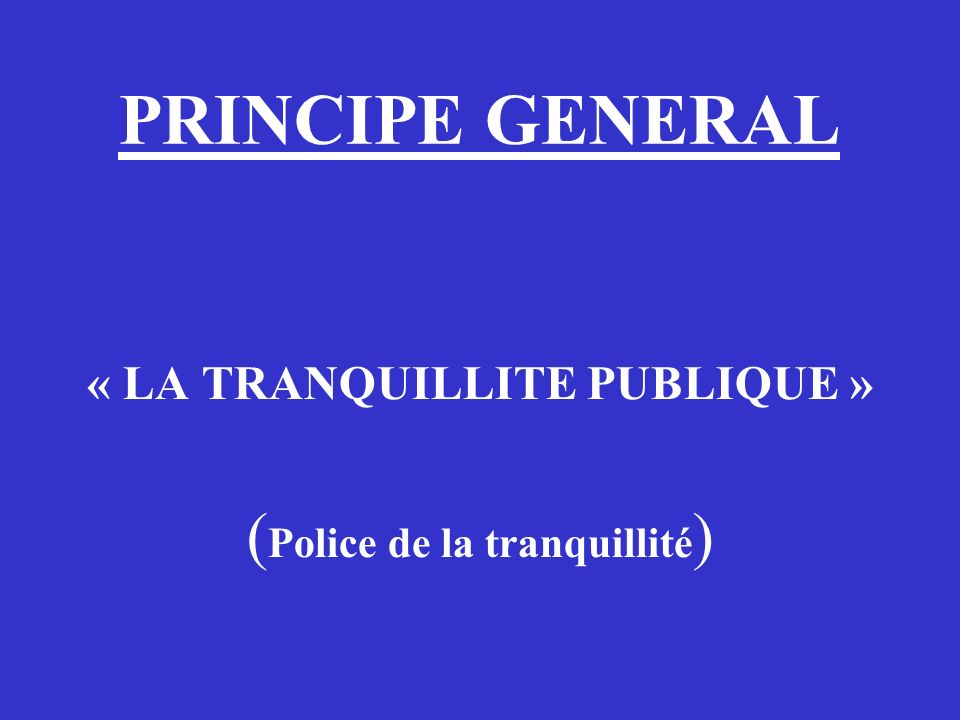 « LA TRANQUILLITE PUBLIQUE »