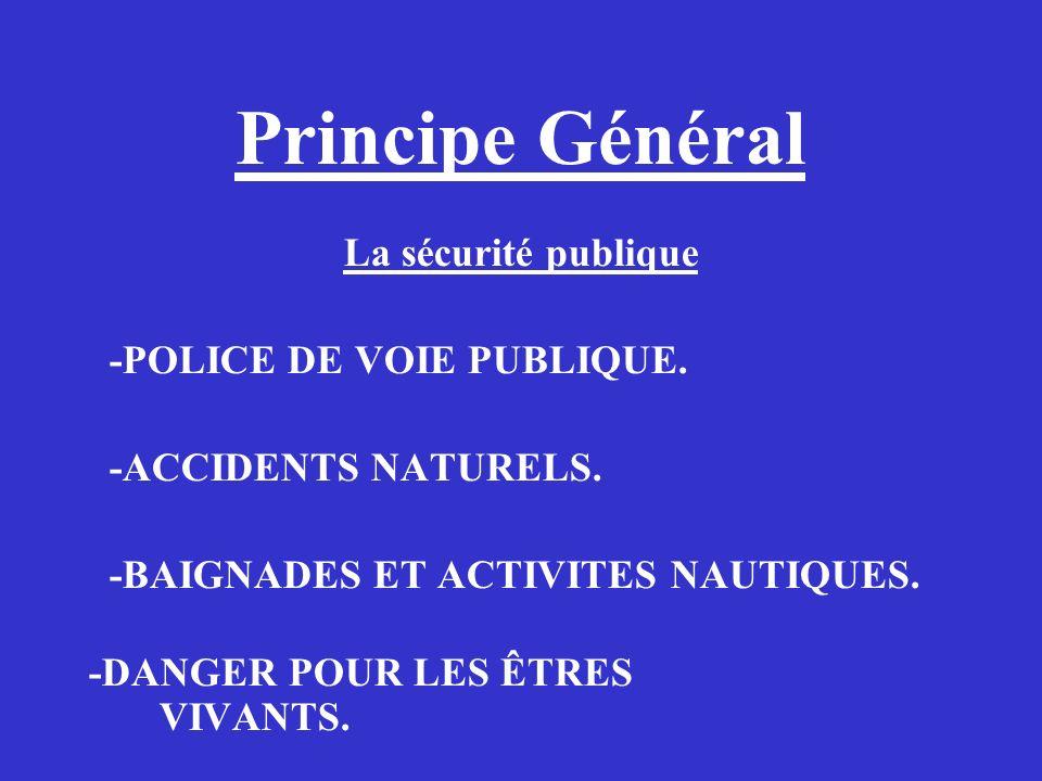 Principe Général La sécurité publique -POLICE DE VOIE PUBLIQUE.