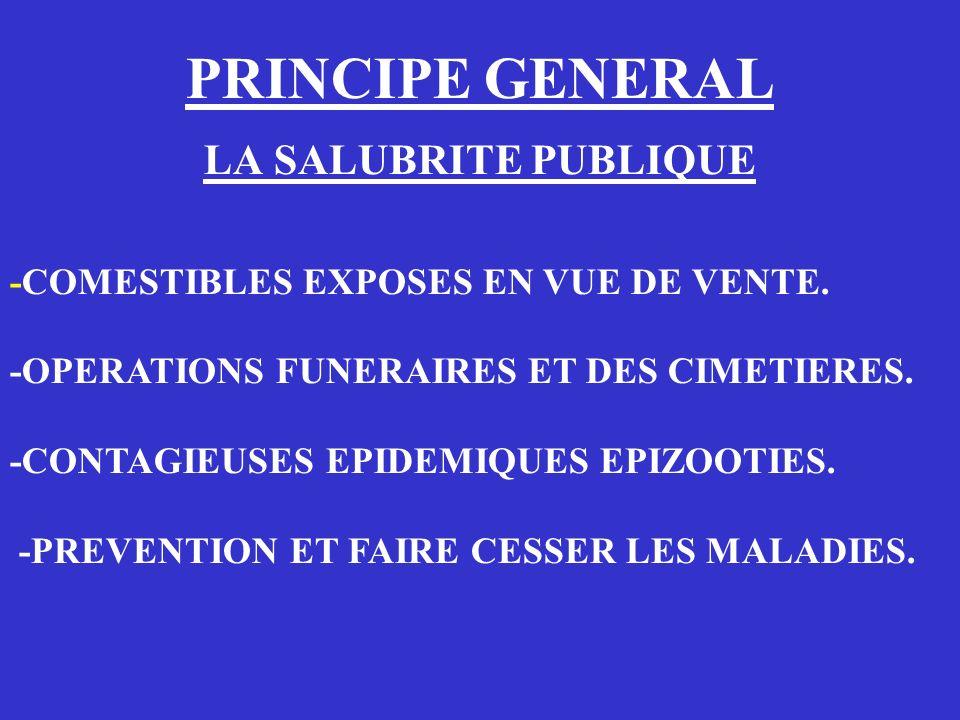 PRINCIPE GENERAL LA SALUBRITE PUBLIQUE
