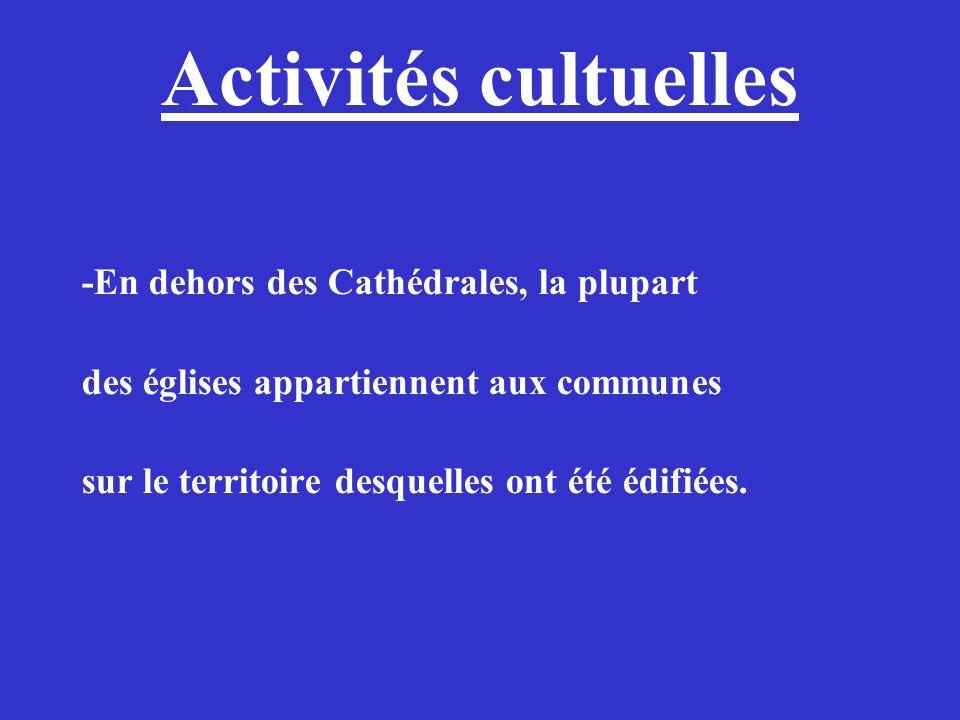Activités cultuelles -En dehors des Cathédrales, la plupart