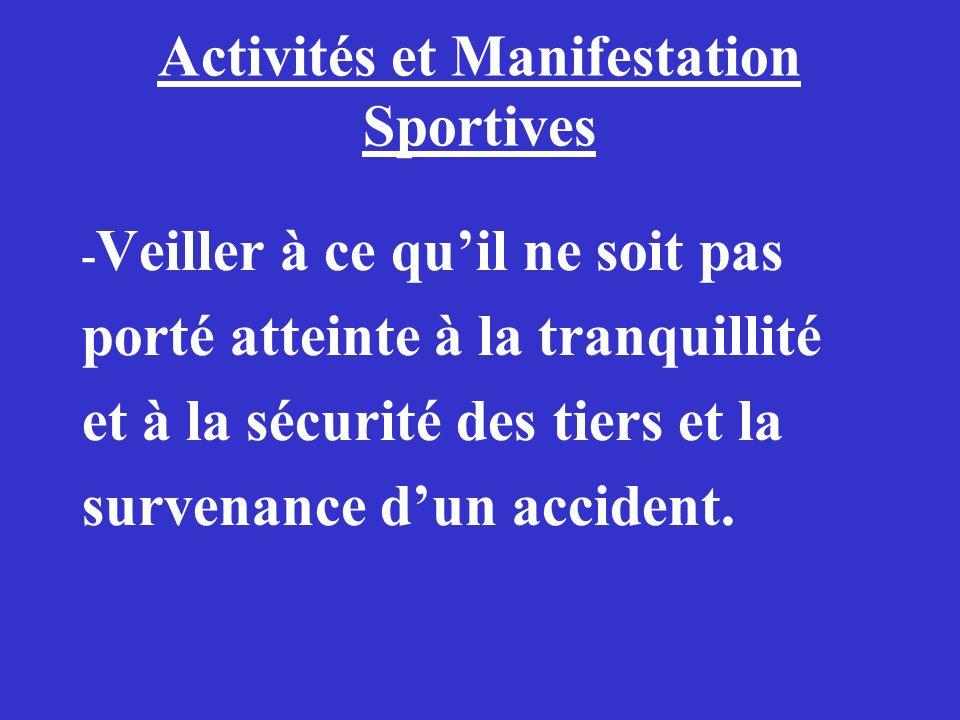 Activités et Manifestation Sportives