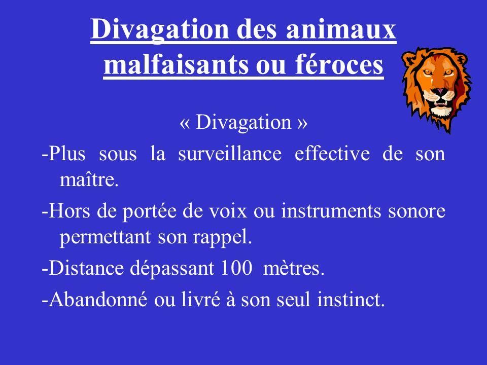 Divagation des animaux malfaisants ou féroces