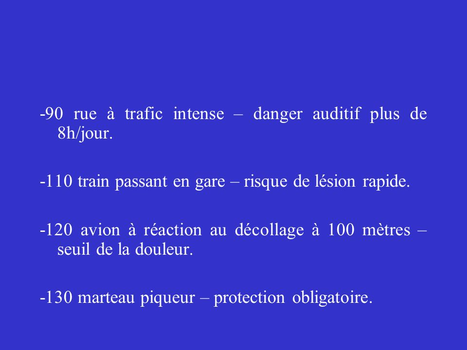 -90 rue à trafic intense – danger auditif plus de 8h/jour.