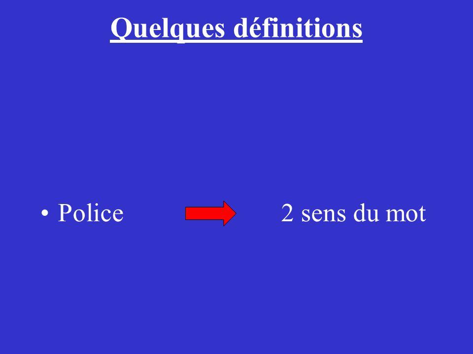 Quelques définitions Police 2 sens du mot