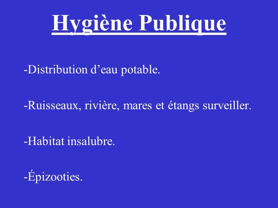Hygiène Publique -Distribution d'eau potable.