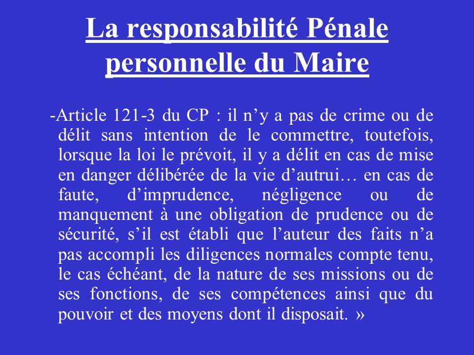 La responsabilité Pénale personnelle du Maire