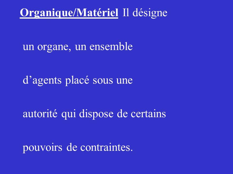 Organique/Matériel Il désigne