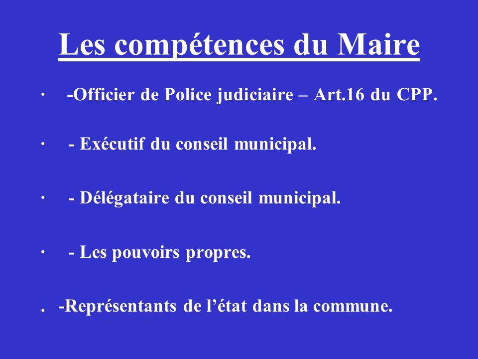 Les compétences du Maire