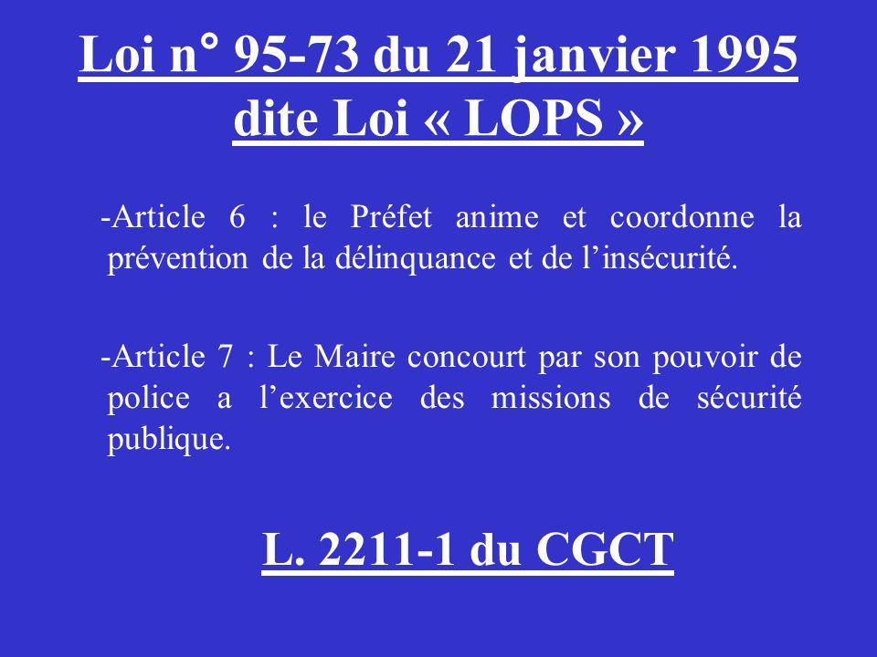 Loi n° 95-73 du 21 janvier 1995 dite Loi « LOPS »