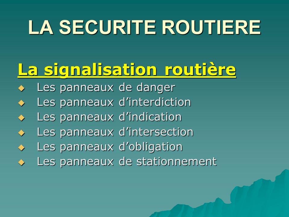 LA SECURITE ROUTIERE La signalisation routière Les panneaux de danger