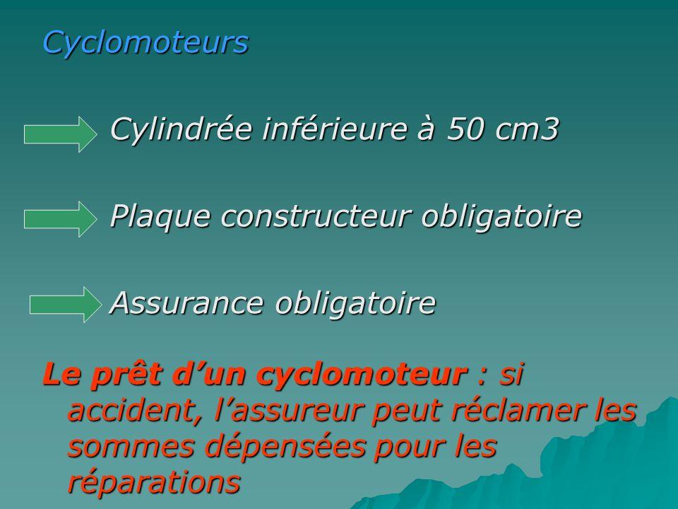 Cyclomoteurs Cylindrée inférieure à 50 cm3. Plaque constructeur obligatoire. Assurance obligatoire.