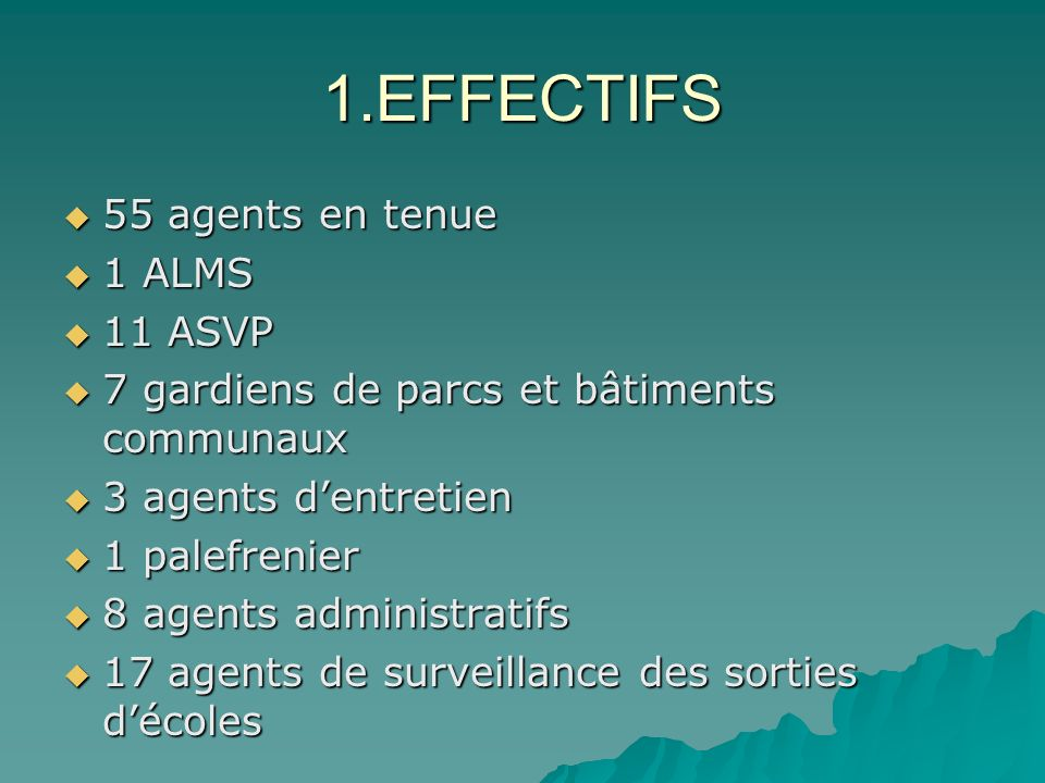 1.EFFECTIFS 55 agents en tenue 1 ALMS 11 ASVP