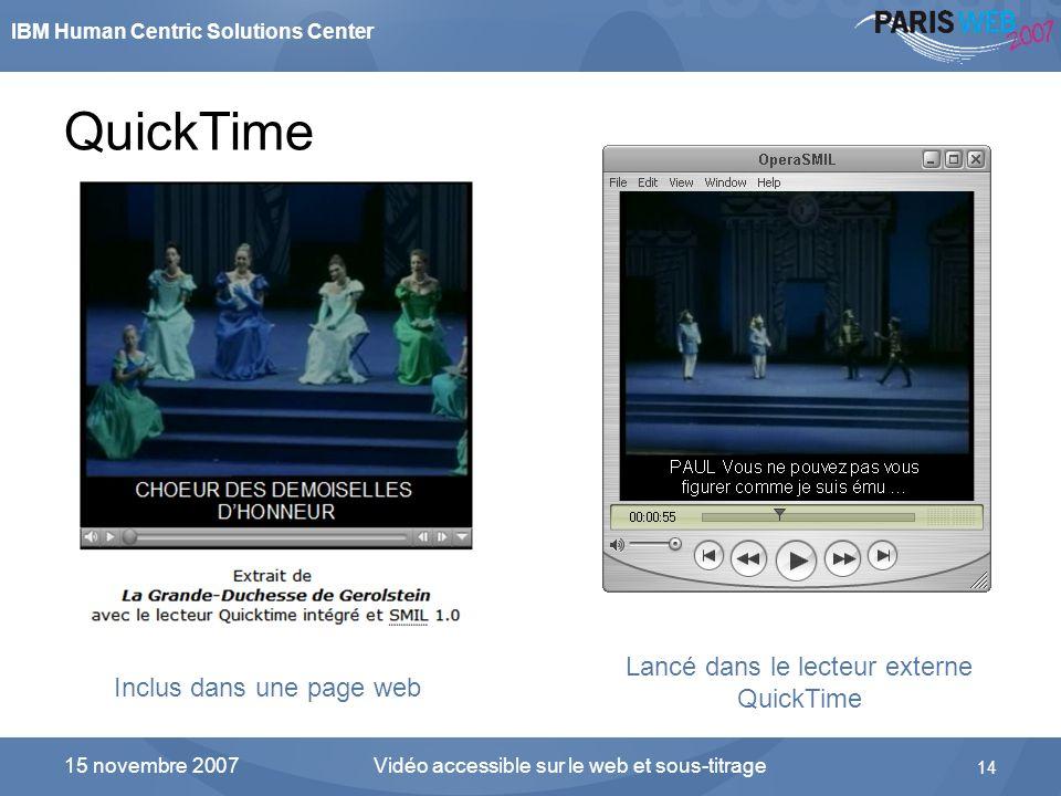 QuickTime Lancé dans le lecteur externe QuickTime