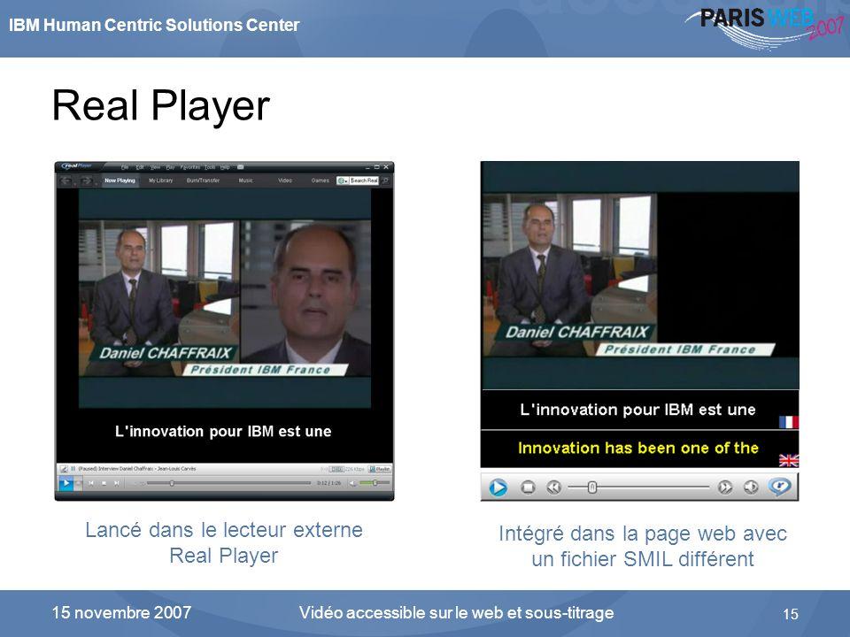 Real Player Lancé dans le lecteur externe Real Player
