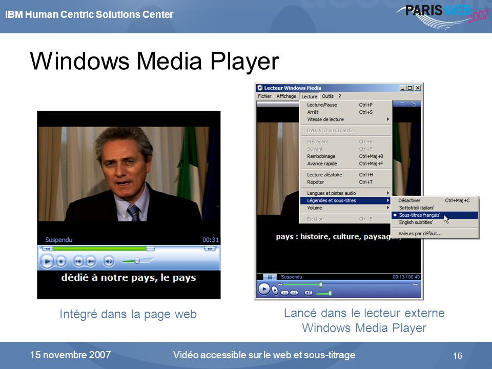 Windows Media Player Intégré dans la page web