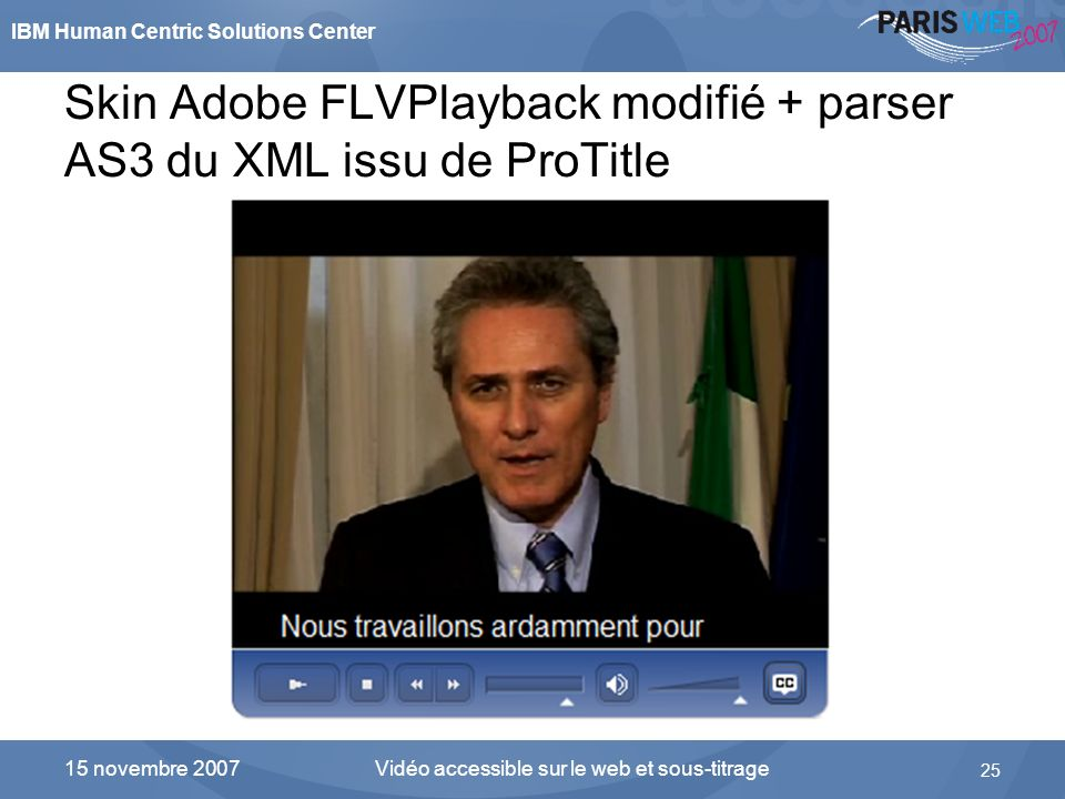 Skin Adobe FLVPlayback modifié + parser AS3 du XML issu de ProTitle