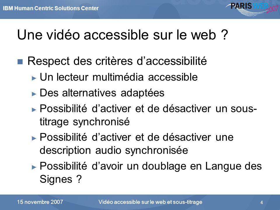 Une vidéo accessible sur le web