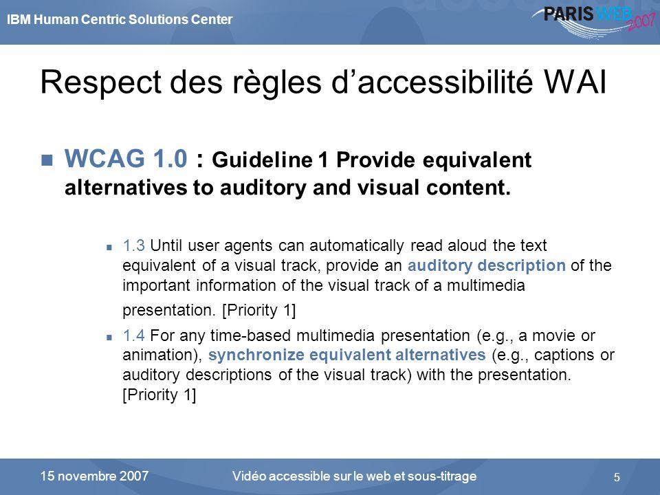 Respect des règles d'accessibilité WAI