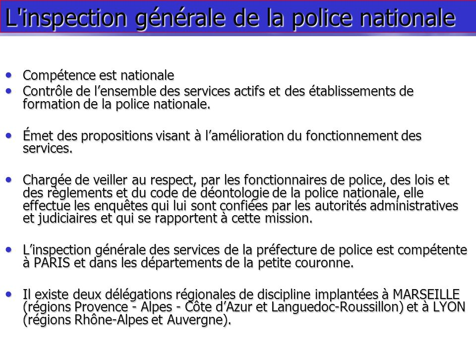 L inspection générale de la police nationale