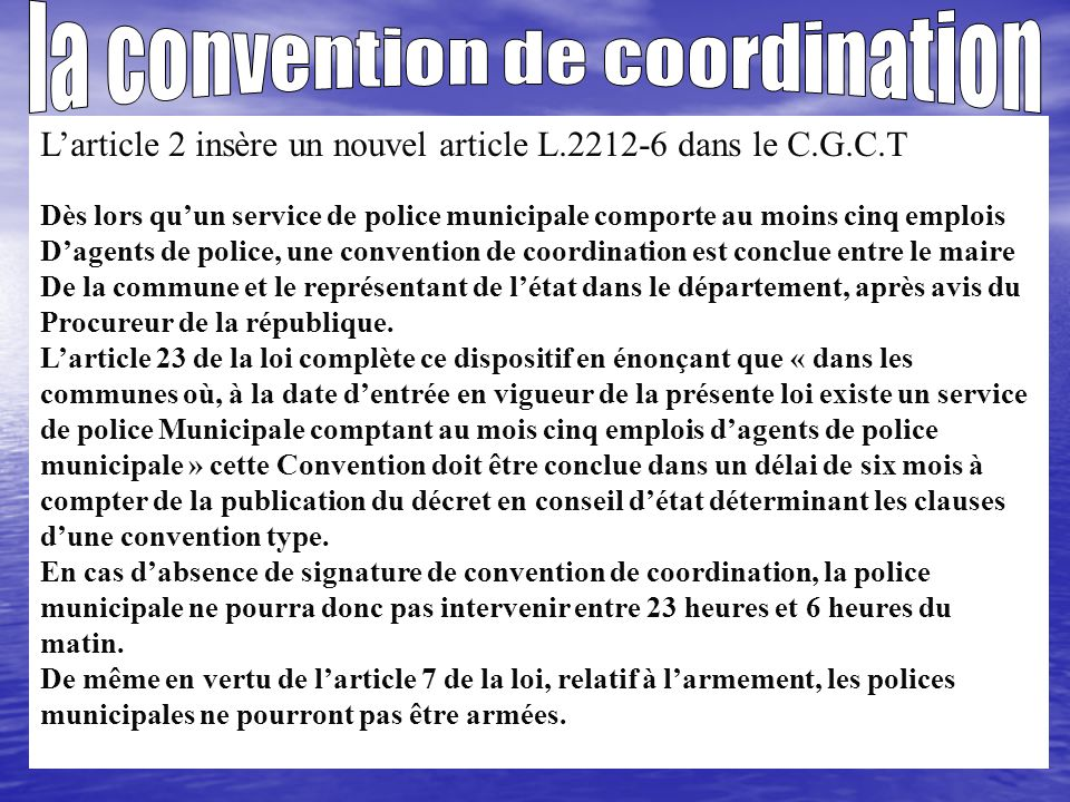 la convention de coordination
