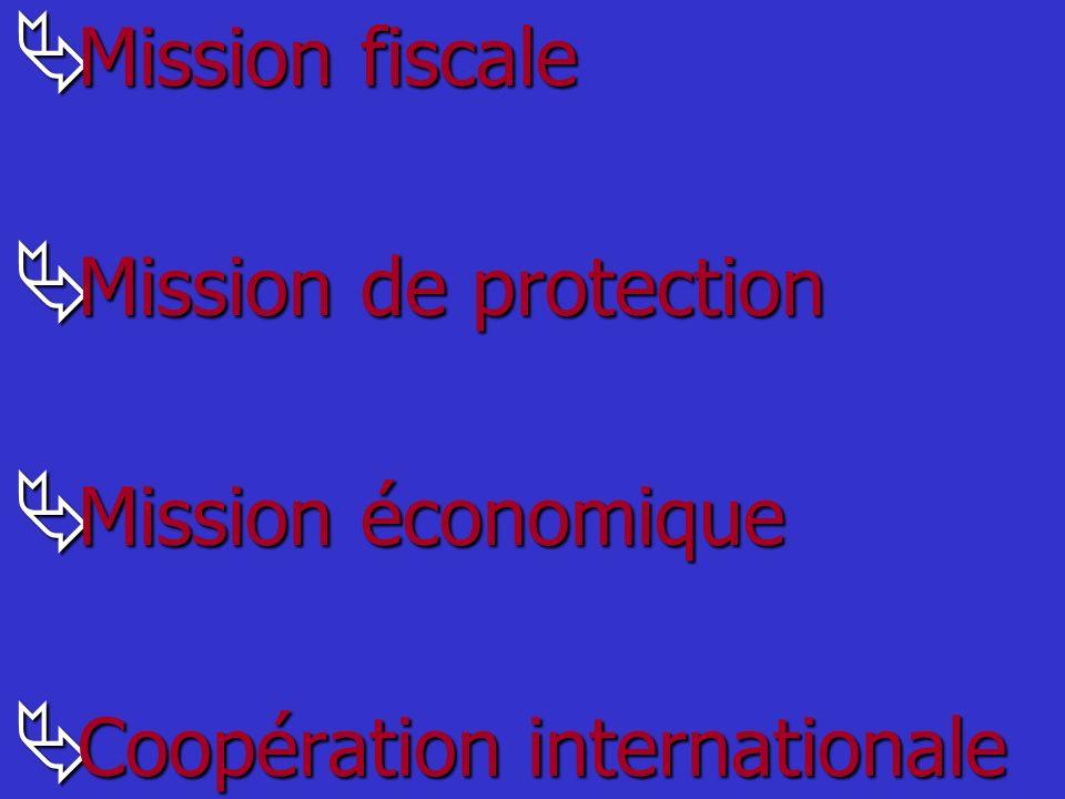 Mission fiscale Mission de protection Mission économique Coopération internationale