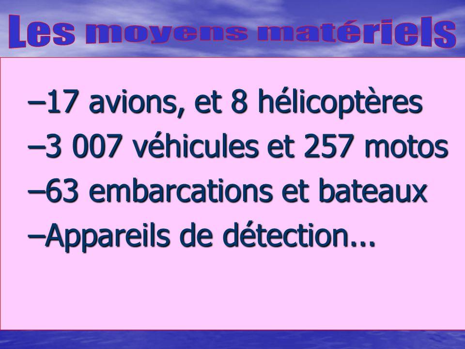 17 avions, et 8 hélicoptères 3 007 véhicules et 257 motos