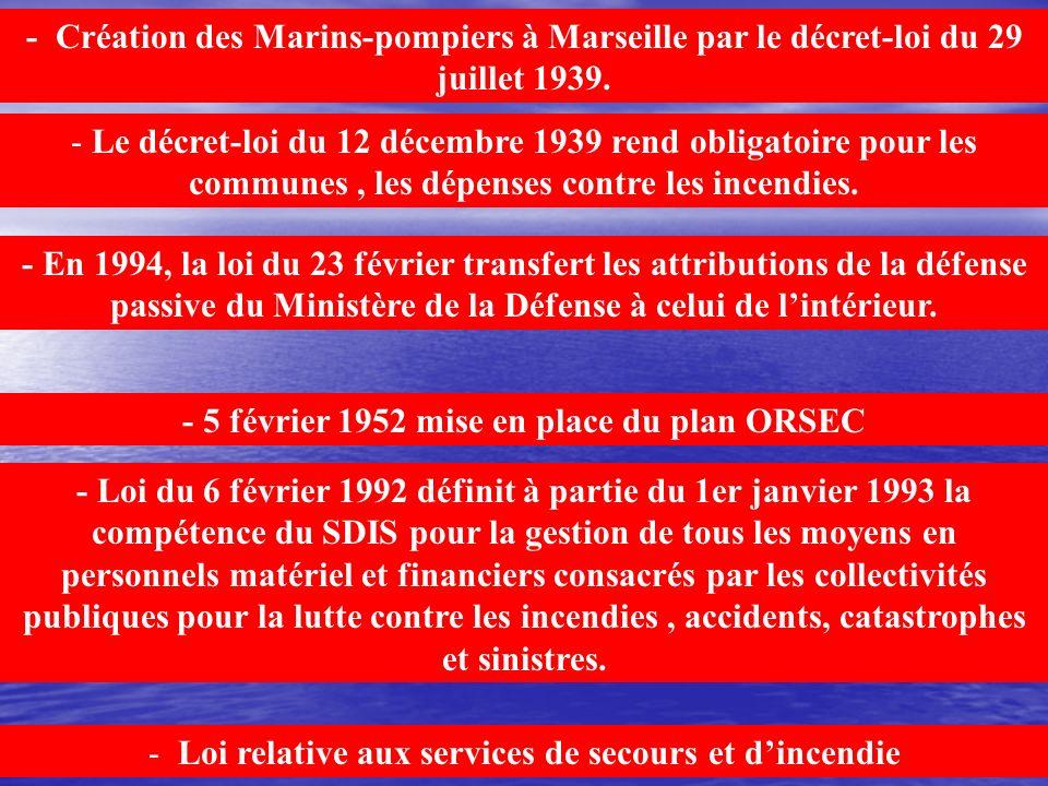 - 5 février 1952 mise en place du plan ORSEC