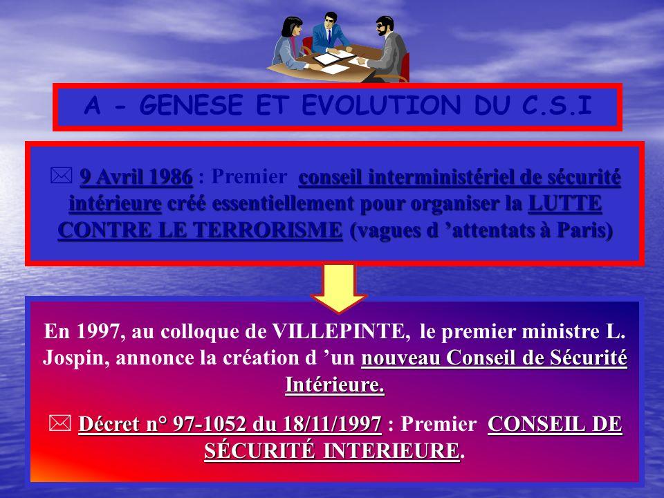 A - GENESE ET EVOLUTION DU C.S.I