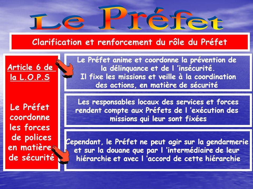 Le Préfet Clarification et renforcement du rôle du Préfet Le Préfet