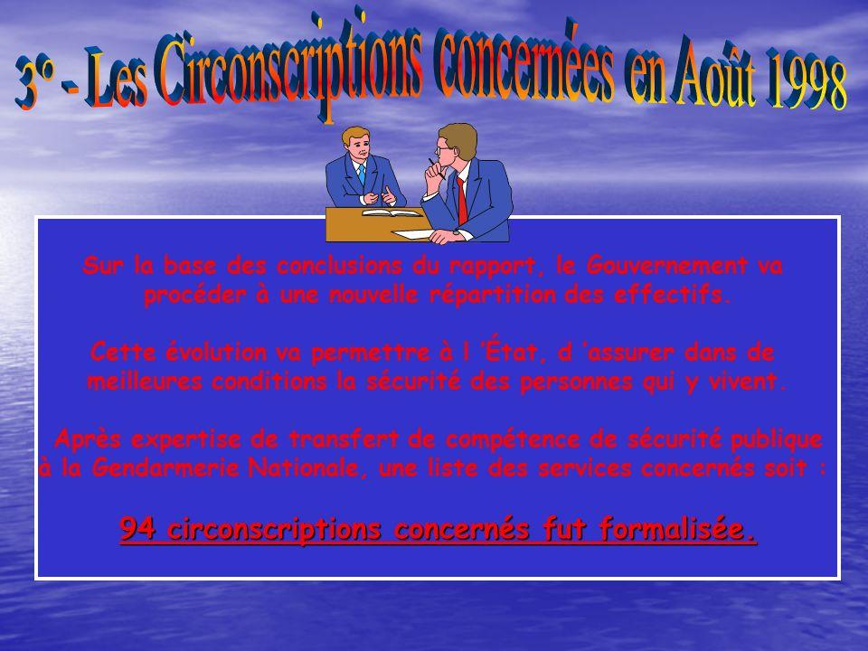 3° - Les Circonscriptions concernées en Août 1998