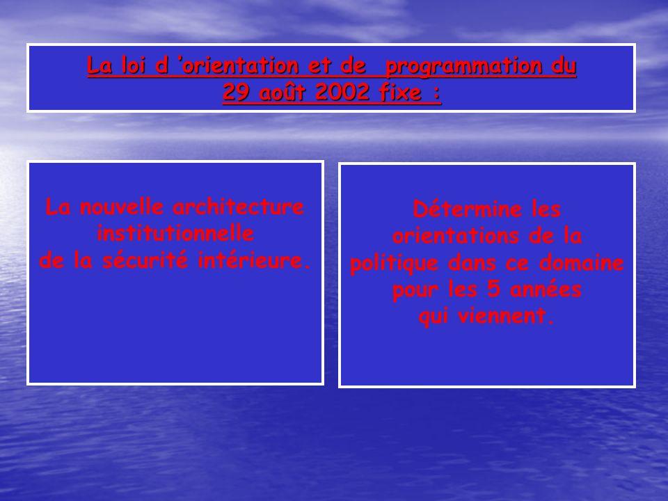 La loi d 'orientation et de programmation du 29 août 2002 fixe :