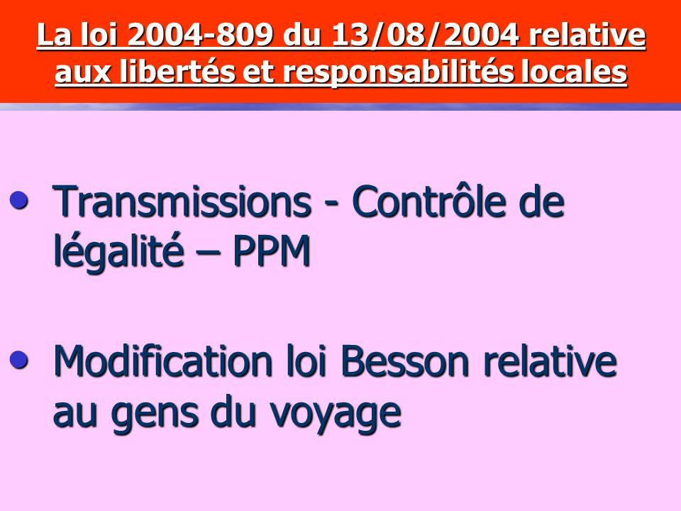 Transmissions - Contrôle de légalité – PPM