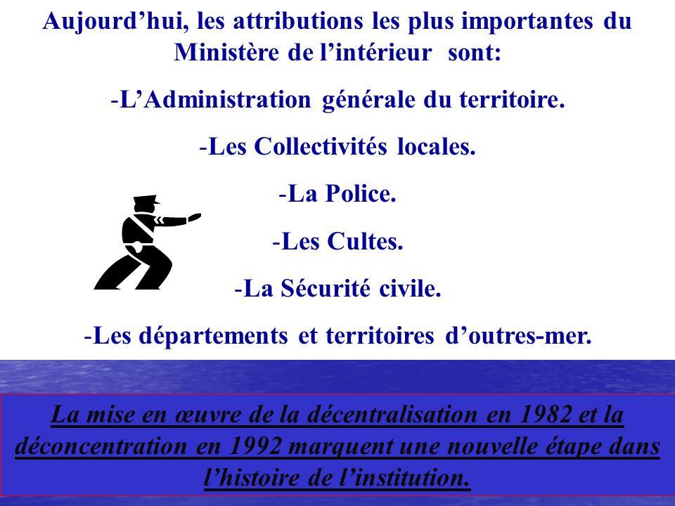L'Administration générale du territoire. Les Collectivités locales.