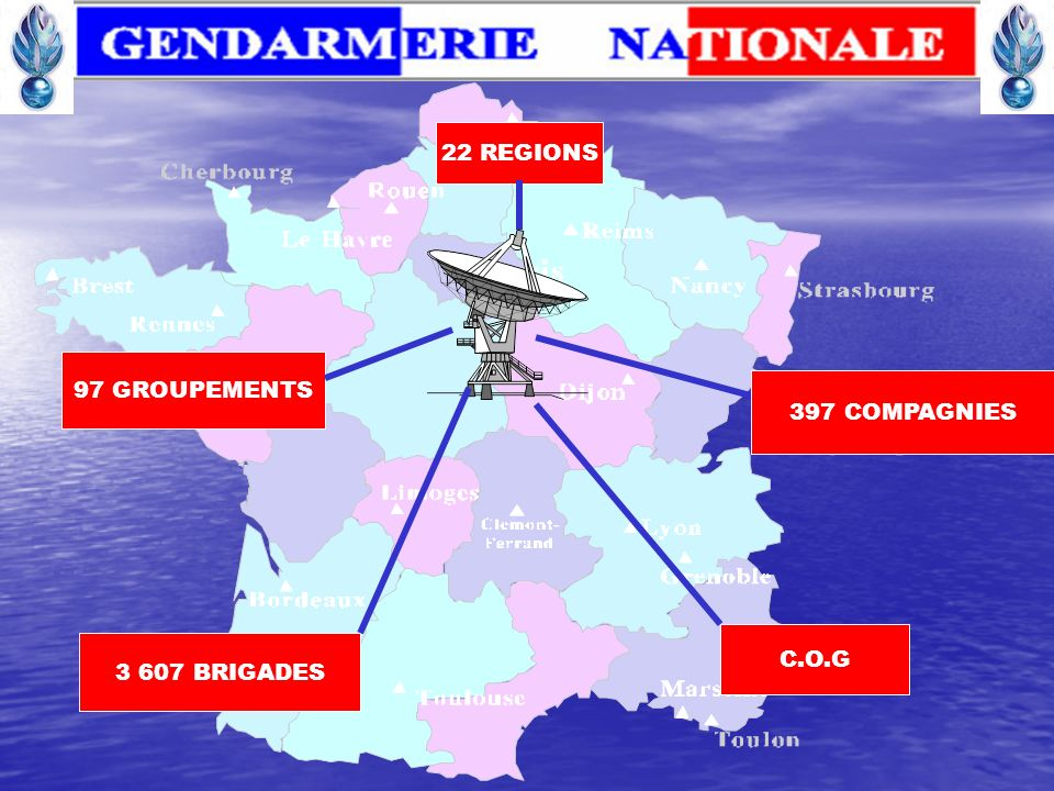 22 REGIONS 97 GROUPEMENTS 397 COMPAGNIES C.O.G 3 607 BRIGADES